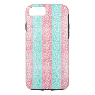 Bright Turquoise Pink Blue Damask Kawaii iPhone 8/7 Case