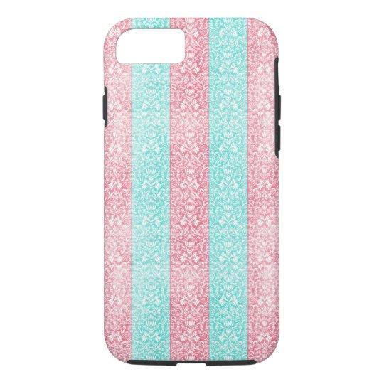 Bright Turquoise Pink Blue Damask Kawaii iPhone 8/7 Case