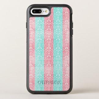 Bright Turquoise Pink Blue Damask Kawaii OtterBox Symmetry iPhone 8 Plus/7 Plus Case