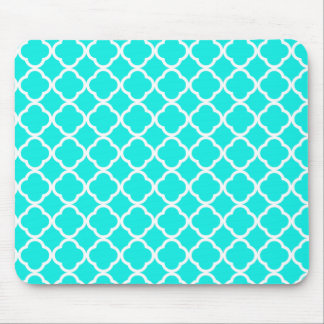 Bright Turquoise Quatrefoil Mouse Pad