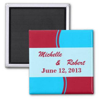 Bright Turquoise Red Modern Wedding Fridge Magnets