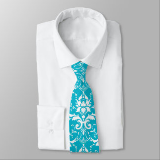 Bright Turquoise Teal Tiffany Blue Damask Pattern Tie