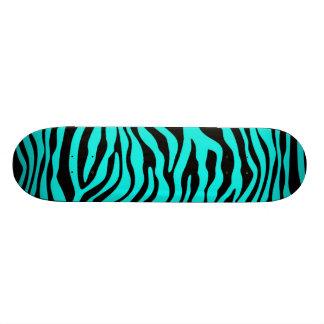 Bright Turquoise Zebra Stripes Animal Print Skate Board