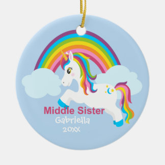 Bright Unicorn Rainbow Middle Sister Ornament