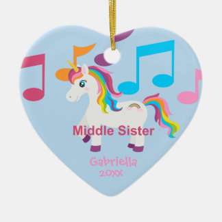 Bright Unicorn Rainbow Music Notes Sister Ornament