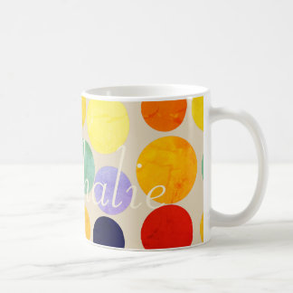 Bright Vibrant Polka Dots Add Name Mug