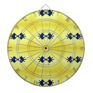 Bright Vibrant Yellow Navy Pattern Dartboard