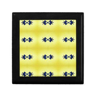 Bright Vibrant Yellow Navy Pattern Gift Box
