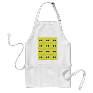 Bright Vibrant Yellow Navy Pattern Standard Apron