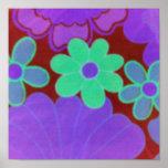 Bright Vintage Retro Flower's Poster