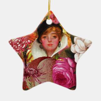 Bright Vintage Woman Flower Garden Ceramic Star Decoration