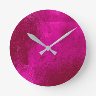 Bright Vivid Pink Leather Metal Glass Minimal Round Clock