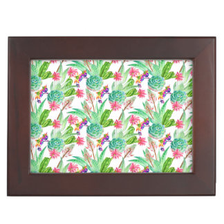 Bright Watercolor Cactus & Succulent Pattern Keepsake Box
