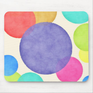 Bright Watercolor Circles Mouse Pad