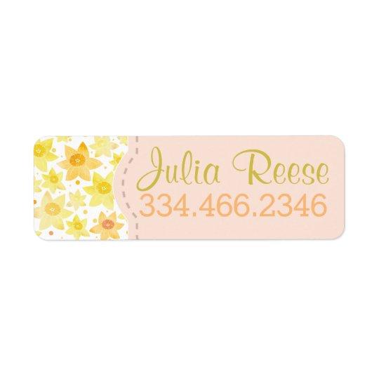 Bright Watercolor Daffodil & Dots Pattern Return Address Label