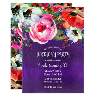 Bright Watercolor Floral Purple Birthday Party Card