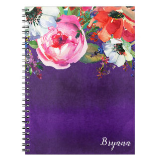 Bright Watercolor Floral Purple Party Chic Custom Notebooks
