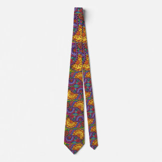 Bright Watercolor Flower Boho Psychedelic Artistic Tie