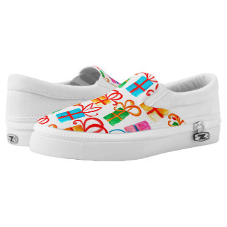 Bright watercolor gift boxes, birthday or xmas slip on shoes