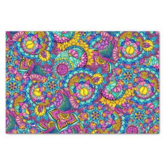 "Bright watercolor hand drawn mandala floral 10"" x 15"" tissue paper"