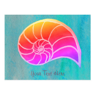 Bright Watercolor Nautilus Postcard