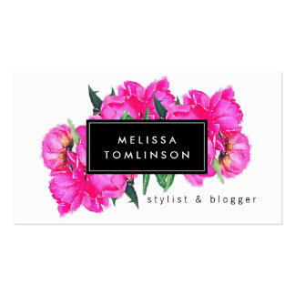 Bright Watercolor Pink Peonies II Stylist, Beauty Pack Of Standard Business Cards