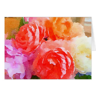 Bright Watercolor Roses Greeting Card