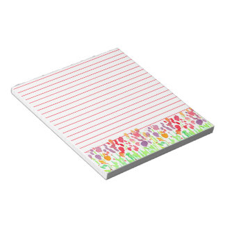 Bright Watercolor Wildflowers Red Lined Notepads