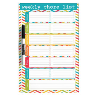 Bright Weekly Chore List Dry Erase Board