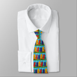 Bright Whimsical Colorful House Artistic Cottage Tie