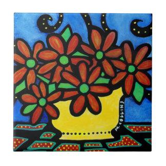 Bright Whimsical Flowers Tile