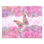 Bright Whimsical Pink Watercolor Paisley Butterfly Photograph