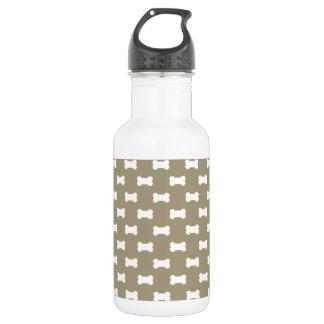 Bright White Dog Bones On khaki Beige Background 532 Ml Water Bottle