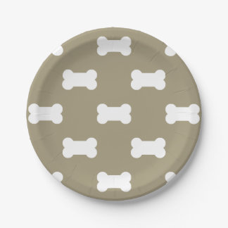 Bright White Dog Bones On khaki Beige Background 7 Inch Paper Plate
