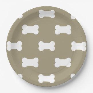 Bright White Dog Bones On khaki Beige Background 9 Inch Paper Plate