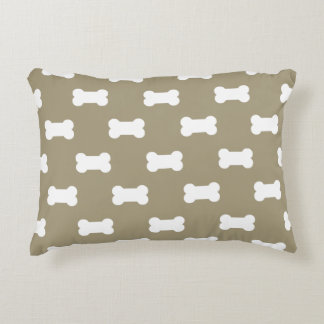 Bright White Dog Bones On khaki Beige Background Accent Cushion