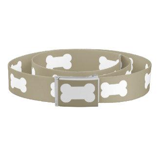Bright White Dog Bones On khaki Beige Background Belt