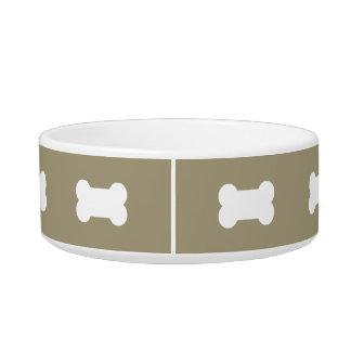 Bright White Dog Bones On khaki Beige Background Cat Bowl