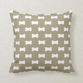 Bright White Dog Bones On khaki Beige Background Cushion