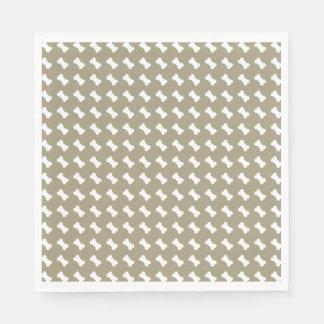 Bright White Dog Bones On khaki Beige Background Disposable Serviettes