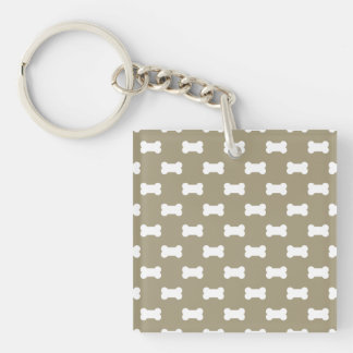 Bright White Dog Bones On khaki Beige Background Double-Sided Square Acrylic Key Ring