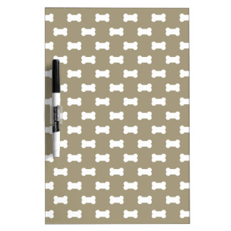Bright White Dog Bones On khaki Beige Background Dry Erase Boards