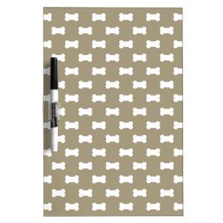 Bright White Dog Bones On khaki Beige Background Dry Erase Board