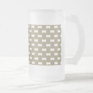 Bright White Dog Bones On khaki Beige Background Frosted Glass Mug