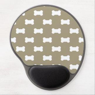 Bright White Dog Bones On khaki Beige Background Gel Mouse Pad