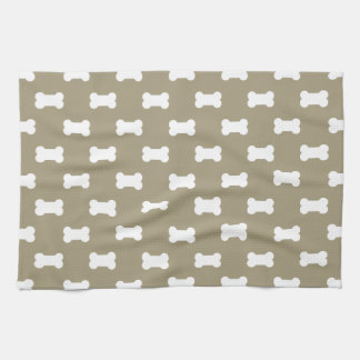 Bright White Dog Bones On khaki Beige Background Kitchen Towel