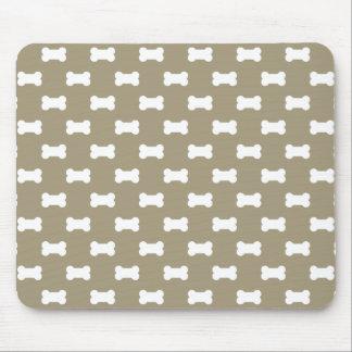 Bright White Dog Bones On khaki Beige Background Mouse Pad