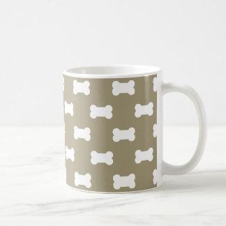 Bright White Dog Bones On khaki Beige Background Basic White Mug