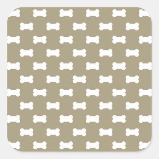 Bright White Dog Bones On khaki Beige Background Square Sticker