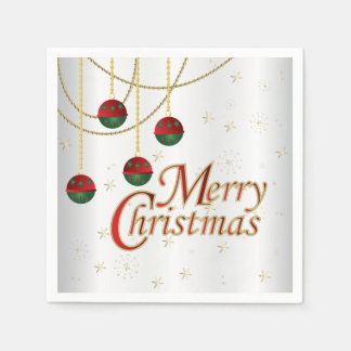 Bright White Merry Christmas Disposable Napkins